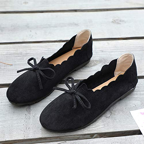 Leather Nero Shoes Lace Boat Shoes Yesmile Da Boot Flat Round Peas Lace Up Bowknot Lavoro Scarpe Single Toe Shoes Suede Up Modern Women fdBwqf