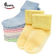 Toddler Socks,Mossio 6 Set Infant Boys Girls Socks Cute Turn Cuff Slipper Gift Set 0-1 Years