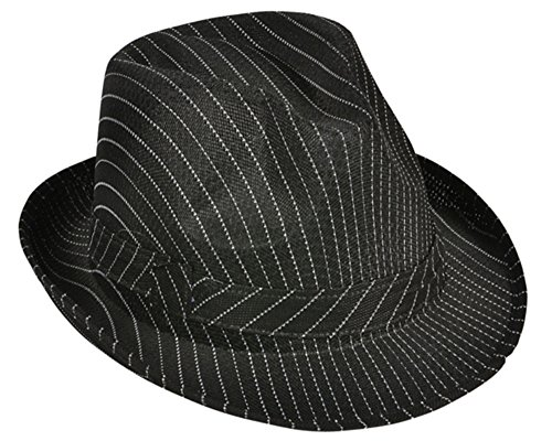 (Roaring 20s Gangster Costume Black Pin Stripe Fedora)