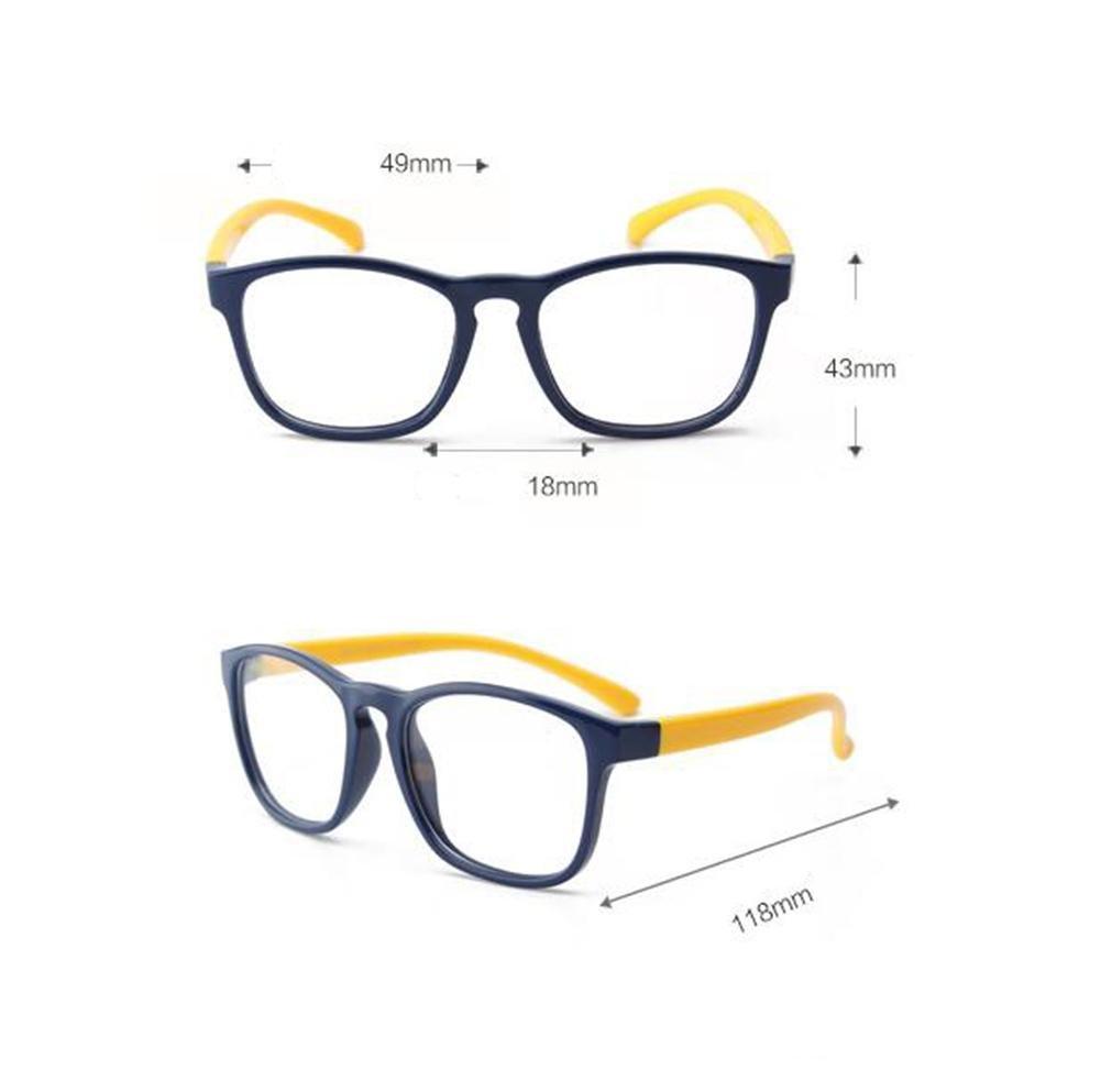 HJXJXJX Kinder SilikonMaterial retro Brillengestell Brille ebener ...