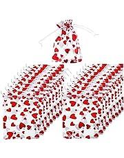 NIDONE Organza Bag Presentväska Bröllop Favor Giftväskor Hjärt Smycken Påse med Dragsko För Party Bröllop Jul 100pcs