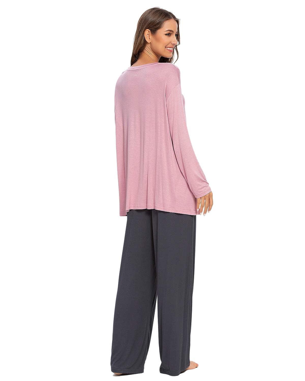MINTLIMIT Jogging Morbido Comodo per Sport Pigiama da Donna a Maniche Lunghe con Top e Pantaloni da Notte Yoga