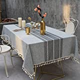 TEWENE Tablecloth, Rectangle Table Cloth Cotton Linen Wrinkle Free Embroidery Anti-Fading Tablecloths Washable Table Cover for Kitchen Dinning Party (Rectangle/Oblong, 55''x120'',10-12 Seats, Gray)