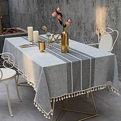 TEWENE Tablecloth, Rectangle Table Cloth Cotton Linen Wrinkle Free Anti-Fading Tablecloths Washable Embroidery Table Cover for Kitchen Dinning Party (Rectangle/Oblong, 55''x86'',6-8 Seats, Gray) - [ANTI-WRINKLE&ANTI-SHRINK]: TEWENE tablecloth combines the comfort of cotton and the firming of hemp with the perfect proportion, which is more wrinkle free and shrink-proof than other materials. And the edges sewn finished with a tassel design adding a delicate and elegant beautiful classic style [ANTI-FADING TABLECLOTH]: TEWENE table cloth is dyeing with new technology and high-quality dyes, good fixing effect, not easy to fade after long time of using and washing [WASHING TIPS]: Hand washing can better maintain and lengthen the life of the tablecloth on account of cotton and linen texture. Of course, you can also put the tablecloth into the laundry bag and wash it with the gentle gear of the washing machine to avoid the strong throwing; Dryer drying or lay flat to dry; TEWENE cotton linen tablecloths can be easily ironed to make the table cloth more smooth and compliant if necessary - tablecloths, kitchen-dining-room-table-linens, kitchen-dining-room - 51wRh9F0ZvL. SS400  -