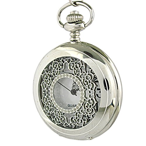 Youyoupifa Fashion Silver Pattern Carving Hollow Big Pocket Watch