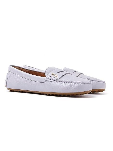 Lauren Ralph Lauren - Mocasines de Piel para Mujer Gris Gris, Color Gris, Talla 35.5: Amazon.es: Zapatos y complementos