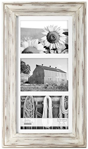 (Malden International Designs Whitman White Wash Matted 3 Opening Collage Wood Picture Frame, 5 by 7-Inch)