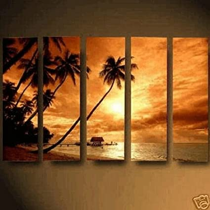 Amazon.com: Abstract Wall Canvas Art Sets Beach Sunset Painting for ...