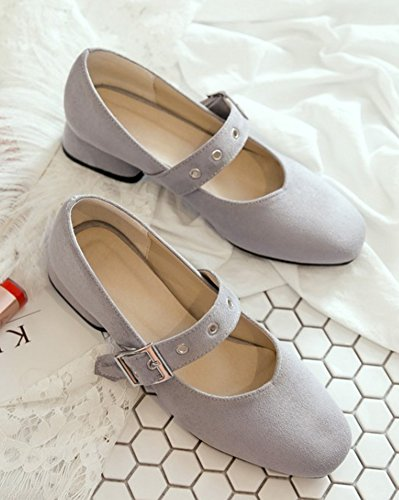 Jane Comfy Con Shoes Fibbia Toe Grigio Women's Mary Round Aisun B1qwPaa