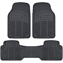 BDK ProLiner Heavy Duty Rubber Auto Floor Mats Liner for Auto - All Weather 3 Piece Set (Black)