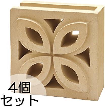 ブロック せっき質無釉ブロック ポーラスブロック200コーナー 190Fタイプ ハニワ(配筋溝あり・1面フラット) 4個セット単位 屋外壁