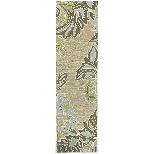 Liora Manne RV0R8A22404 1947/04 AQ Ravella Casual Ornamental Leaf Bdr Indoor/Outdoor Runner Rug, 2' X 8', Ivory/Cream - Rectangle Rug Green Natural