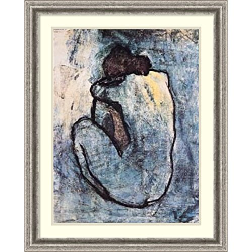Framed Art Print 'The Blue Nude (Seated Nude), 1902' by Pablo Picasso: Outer Size 25 x 31