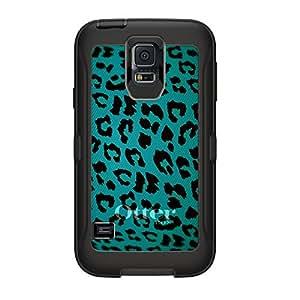 CUSTOM Black OtterBox Defender Series Case for Samsung Galaxy S5 - Teal Black Leopard Skin Spots