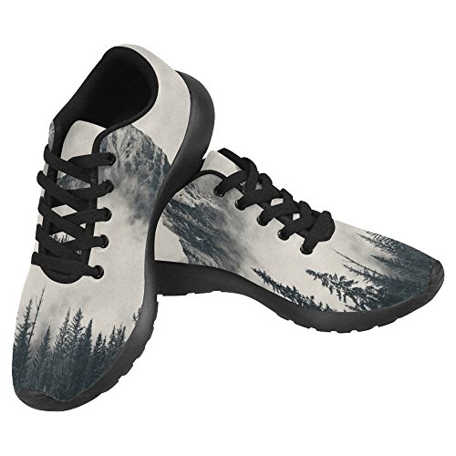 InterestPrint Womens Jogging Running Sneaker Lightweight Go Easy Walking Casual Comfort Running Shoes National Park Foggy Mountains and Forest Multi 1