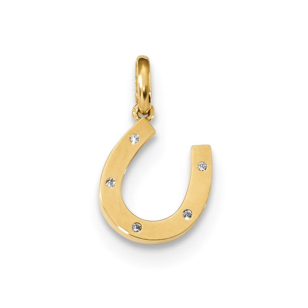14K Yellow Gold Themed Jewelry Pendants /& Charms Childrens 17 mm Childrens CZ Horseshoe Pendant