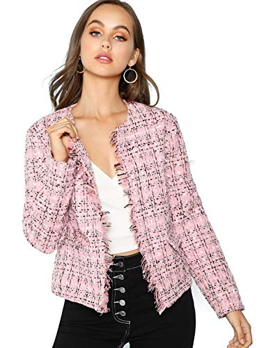 Milumia Women's Edge Plaid Frayed Trim Tweed Blazer Multicoloured-Pink2 XS