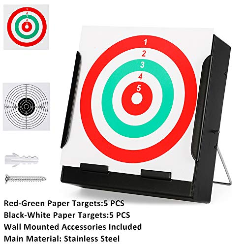 - Airsoft Pellet Trap Target with 10 PCS Shooting Target Papers for Airsoft Gun-BB Gun