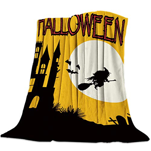 wanxinfu Decorative Throw Blanket for Living Roome/Office/Bedroom, Halloween Witch Castle Tombstone - Luxury Warm Soft Cozy Flannel Microfiber Lightweight Blanket for All Season, 49''W x 59''L ()