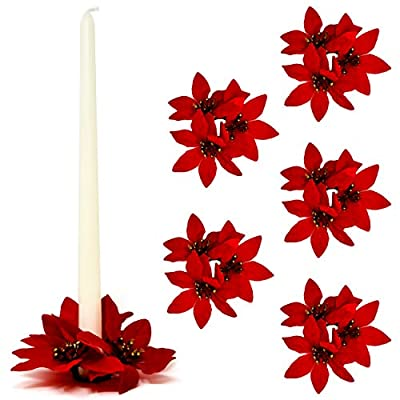 Gift Boutique Christmas Taper Candle Ring Decorative Red Poinsettia, Set of 6, Versatile Holiday Centerpiece Festive Pillar Candle Holder - Holiday Party Ornament for Weddings, Parties and Home Décor