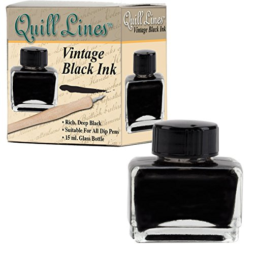 15ml Quill Lines Vintage Intense Water-Soluble Black Ink