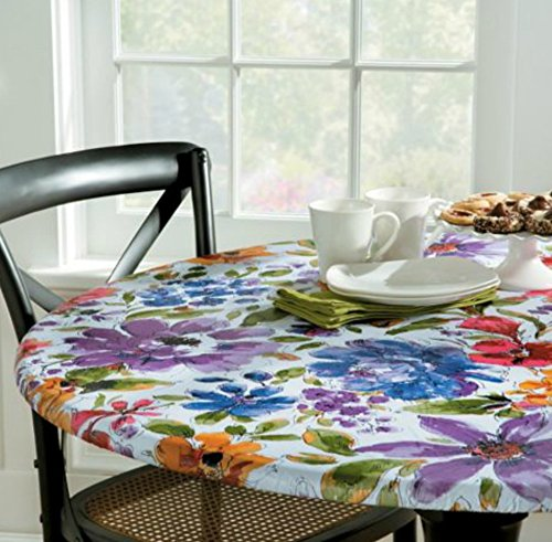 White Floral Vinyl Table Cover