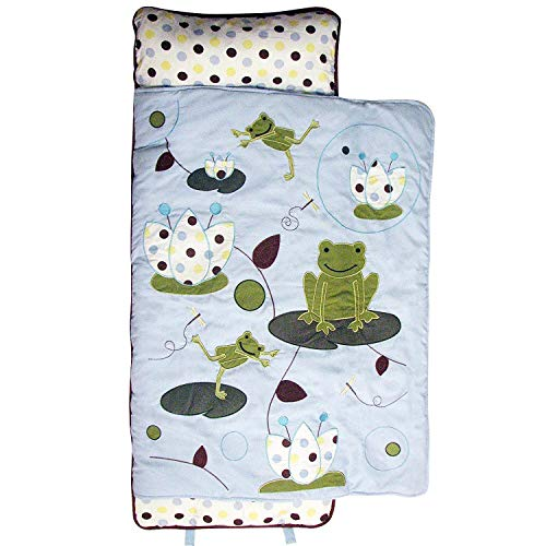 SoHo Toddler Cotton Nap Mat, Blue Frog Party