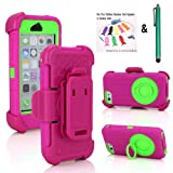 The Little Penguin Supper Rugged Shock-proof Hybrid Swivel Ring Kickstand Case w/ Belt Clip Holster for Apple iPhone 5C - Very Protective from drops or bumps & Dustproof (Shock&Bump-proof Case - Hot Pink and Green)