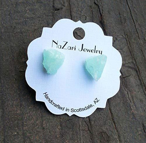 (Raw Natural Aquamarine Surgical Steel Earrings For Women Men Teen Girls)