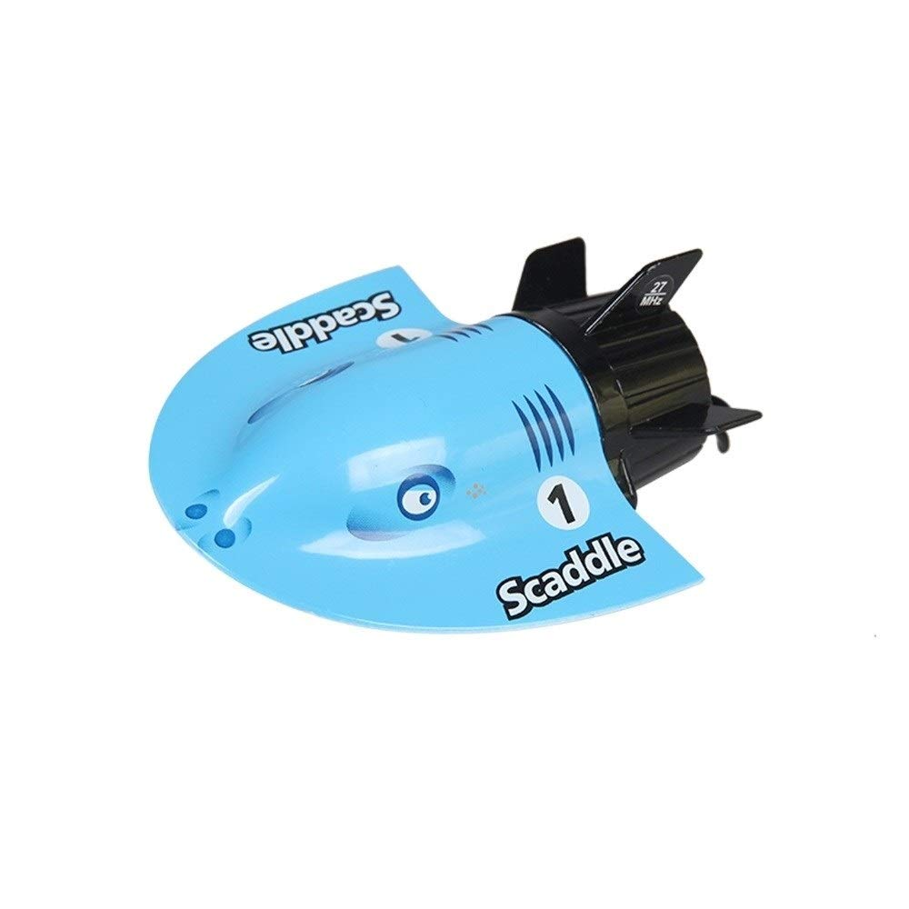 Woote Mini Remote Control Submarine 2.4G Rechargable, RC Boat, Remote Control Electric Racing Boat for Pools and Lakes for Adults & Kids (Color : Blue ) by Woote