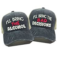 "Adult Custom Distressed Funny Trucker Hat Pink ""Alcohol/Bad Decisions"" Embroidered Ball Cap"