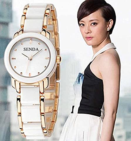 Amyove Automatic Diver Womens Wristwatch Watches Watch Black Gold White Silver Pink (White/Gold) (Sangdo Automatic Watches)