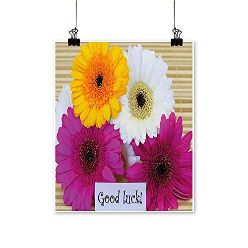 (Canvas Wall Art Romantic Party Good Luck Note Colorful Gerbera Daisies Botanical Composition Multicolor for Home Decoration,24