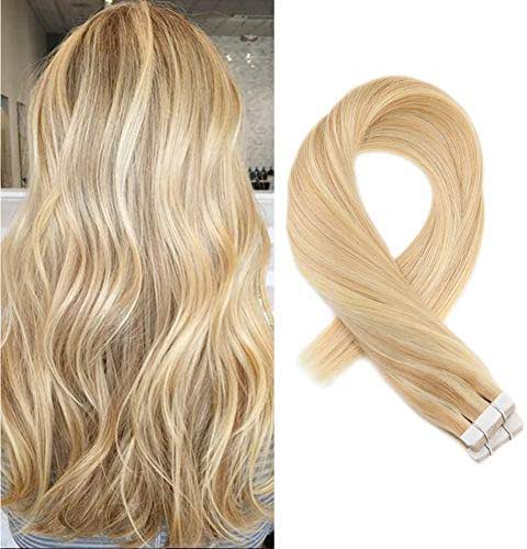 Moresoo 14 Inch Tape in Highlighted Hair Extensions Human Hair Color #16 Golden Blonde Highlighted #22 Blonde 50g Remy Human Hair Extensions Tape in 20PCS Per Package