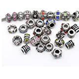 Thirty Assorted Bead Charms and Murano for Snake Chain Bracelet