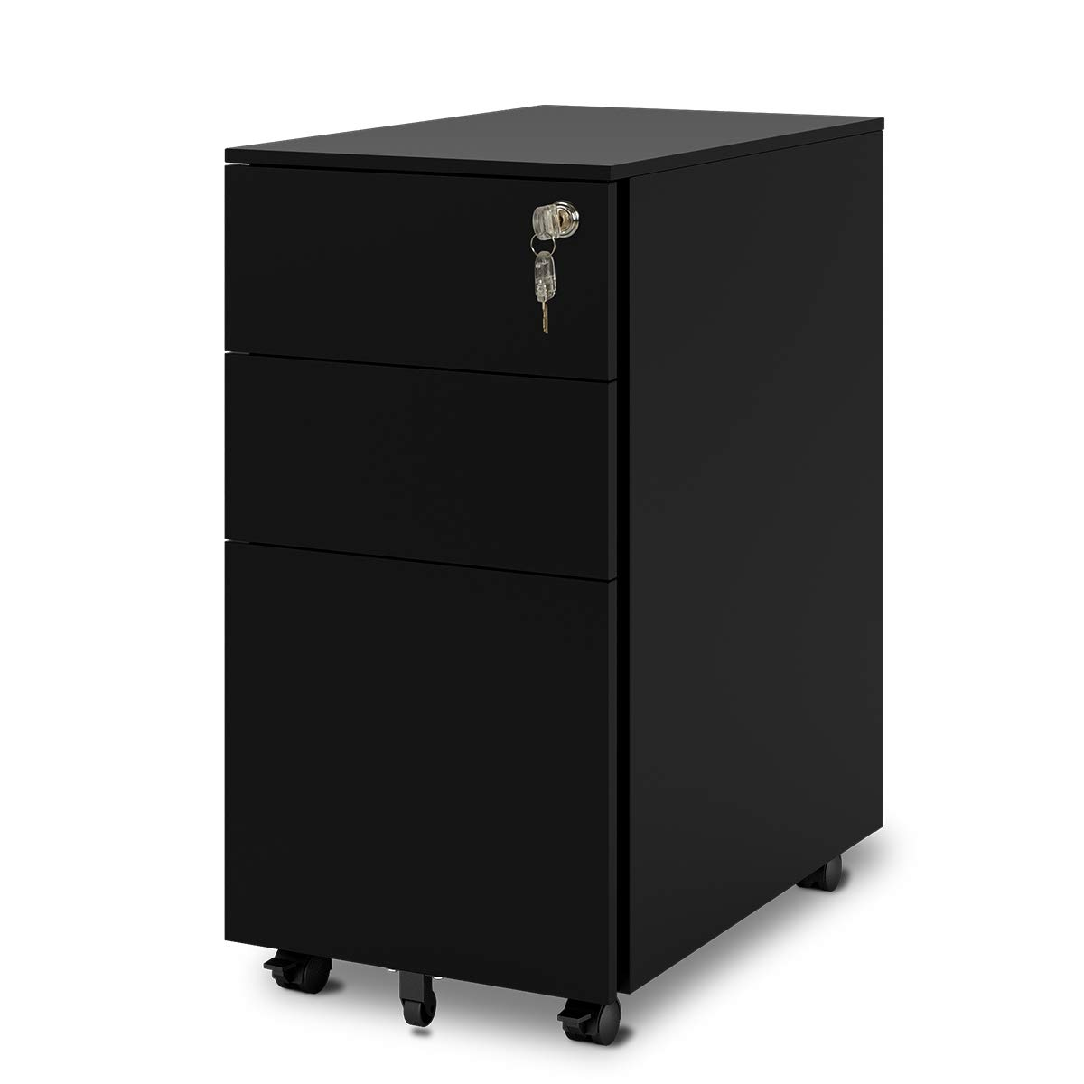 DEVAISE Mobile Filing Cabinet Pedestal under Desk with 3 Drawer for A4 ; All-Steel, Lockable, 39cm W x 48cm D x 60cm H, Black