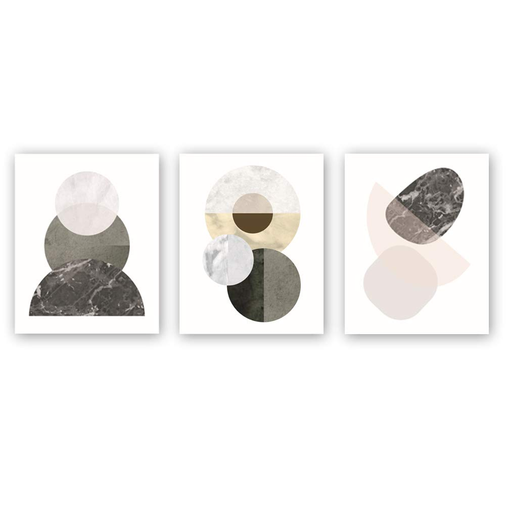 Unframed modern mid century art poster abstract geometry art printset of 3(8x10) geometric wall art painting circle mountains canvas print for living