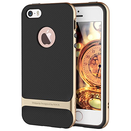 Price comparison product image iPhone SE Case, For Apple iPhone 5S/5 Case, ROCK [Royce] Anti-scratch Drop Protection Slim Fit Dual Layered Heavy Duty Armor Hybrid Hard PC + Soft TPU Protective Shell Case - Champagne Gold/Black