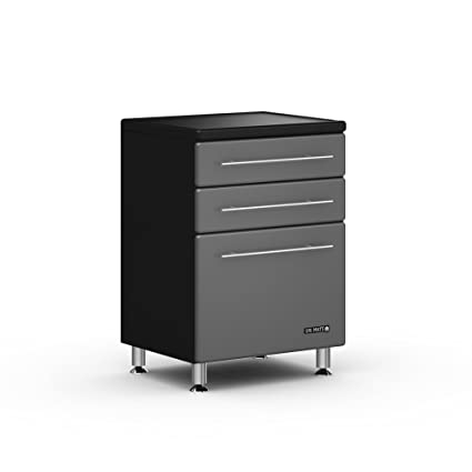 Graphite And Black Three Drawer Base Cabinet Graphite Gray Doors/Black  Cabinet