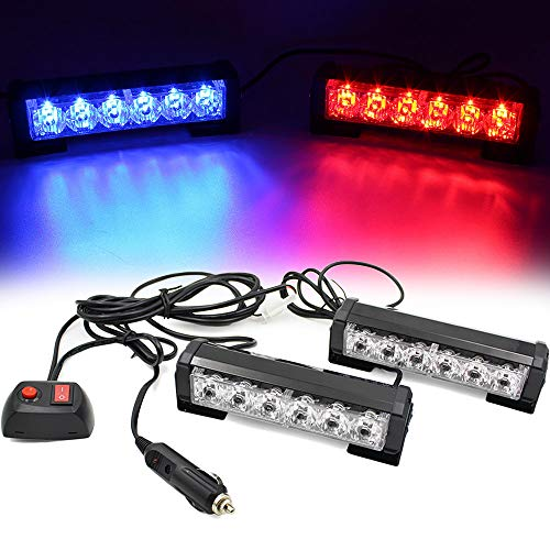 FOXCID 2 X 6 LED 9 Modes Traffic Advisor Emergency Warning Vehicle Strobe Lights for Interior Roof/Dash/Windshield/Grille/Deck Universal Waterproof (Red/Blue)