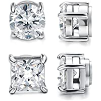 Jstyle 2 Pairs Stainless Steel Magnetic Stud Earrings for Men Women Non-piercing CZ Hypoallergenic 4-10mm