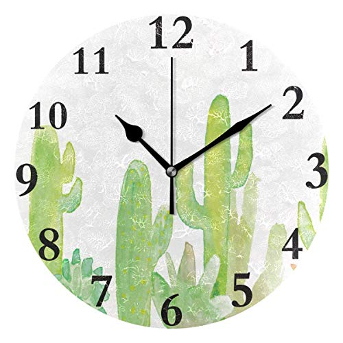 Dozili Customized Cactus Round Wall Clock Arabic Numerals Design Non Ticking Wall Clock Large for Bedrooms,Living Room,Bathroom (Pbteen Room Design)