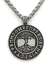 Norse Vikings Runes Amulet Pendant Necklace The Tree Of Life Runes Pendant Necklace Nordic Talisman
