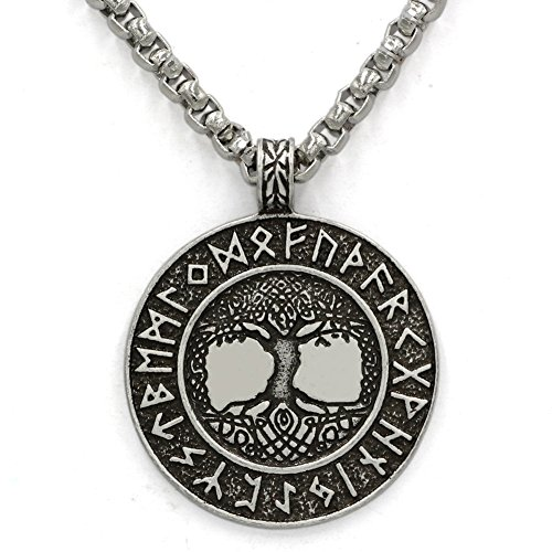 TTKP Norse Vikings Runes Amulet Pendant Necklace The Tree Of Life Runes Pendant Necklace Nordic Talisman
