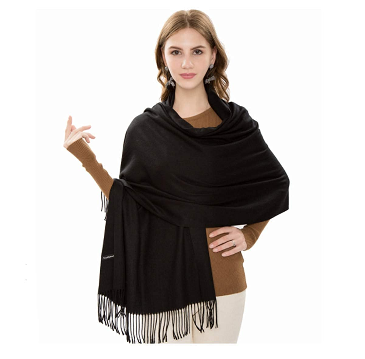 d4804cd3a4c JOSENI Solid Color Pashmina Blanket Scarf Large Winter Wrap Shawl for Women  Men