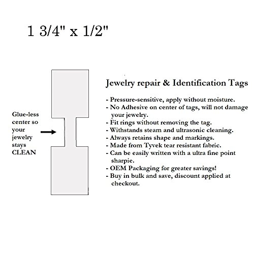 1000 Pcs of Tyvek Jeweller Repair, Price and Identification tags (1.75