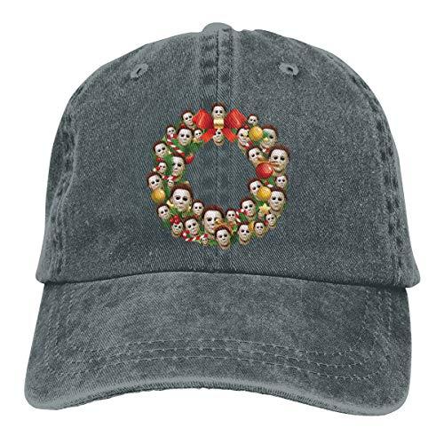 Michael Myers Halloween Multiface Christmas Wreath Summer Cool Heat Shield Unisex Adult Cowboy Hat Deep -