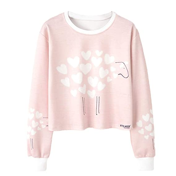 Amazon.com: BOLUOYI Hoodies for Women Pullover Crop Top,Women Long Sleeve Print Casual Sweatshirt Top Blouse,Pink,S: Clothing