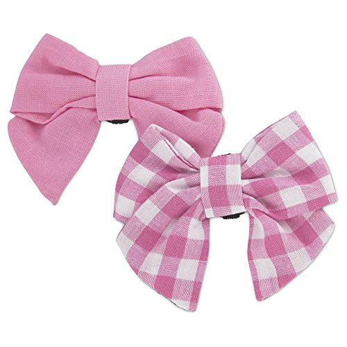 Bond & Co. 2 Pack Pink Gingham Bows for Small Dogs, One Size Fits All ()