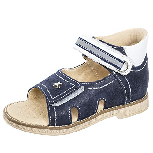 - Orthopedic Kids Shoes for Boys and Girls TW-131 - Genuine Leather Sandals with 2 Fasteners, Non-Slip Amortizing Sole and Thomas's Heel (6, Dark Blue)